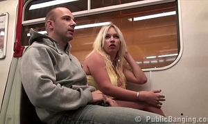 Extreme public subway sex three-some with large titties star stella fox and two large fellows