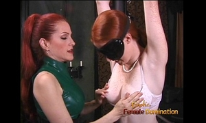 Latex-clad redhead bitch has her way with a freckled ginger hussy