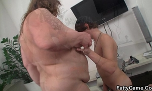 Big stomach bbw sucks and rides his juvenile ramrod