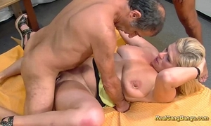 Busty bizarre pierced milf receives huge group-fucked