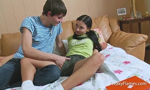 Interrupted youthful lolita stepsis to receive penis in moist taut legal age teenager vagina in a short time fuck