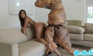 Big booty lalin girl legal age teenager chased by lesbo loving trex on a hoverboard then screwed