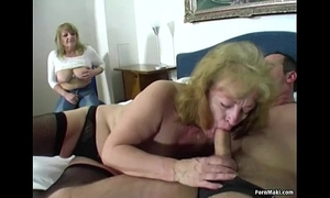Two granny one cock