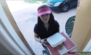 Kimber woods delivers pizza and bangs customer for greater amount tips
