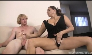 Teen and milf double cook jerking