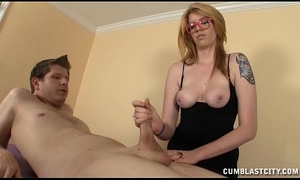 Sexy masseuse causes a huge ejaculation