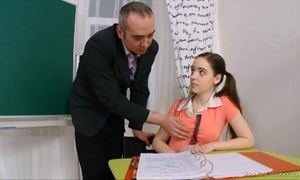 Mature teacher bonks barely legal twat