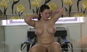 Curvaceous large breasted honey masturbates to a real big O