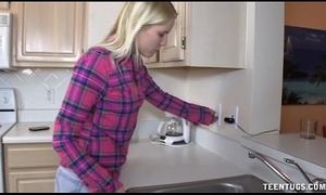 Cute legal age teenager tugjob in the kitchen