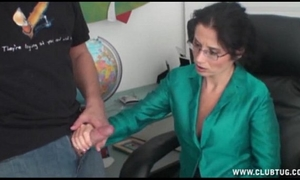 Milf tugjob at the office