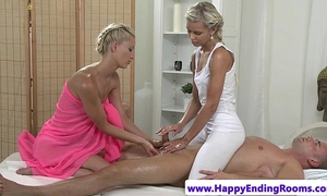 Hot masseuse lesbos in threesome tugging client