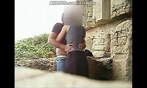 Horny dilettante pair fucking outdoors