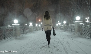 Jeny smith nude in snow fall walking throughout the town