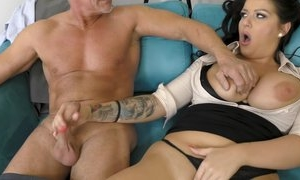Office cute bitsh with big tits satisfying old man in great hardcore sex act in the office