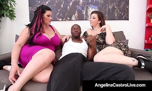 Cuban queen angelina castro & sara jay blow a large dark shlong