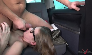 Small glassed student receive ride of her fantasies with wang in fur pie
