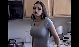 Hot aria giovanni cools off by pouring milk all over her face and titties