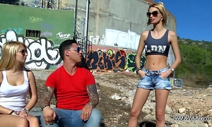Myfirstpublic 2 sexy women play wicked game with youthful muscle stranger public
